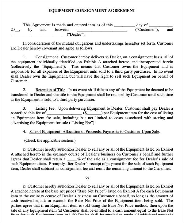 Consignment Agreement Consignment Agreement Form Sample Contract