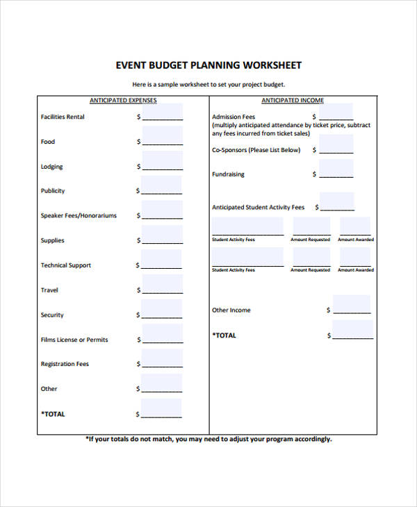 event budget planning report form2
