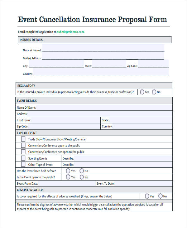 event cancellation insurance proposal form