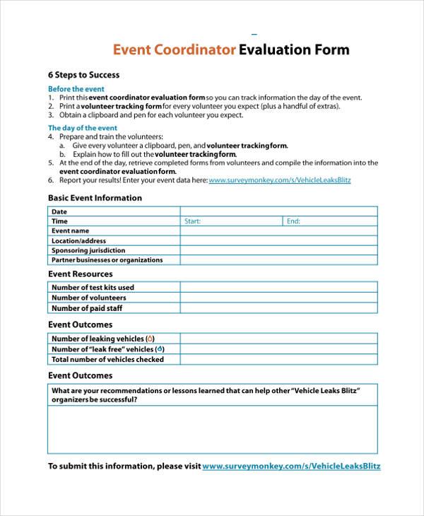 event coordinator evaluation form in pdf