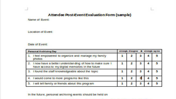 make an evaluation form  FREE 7+ Event Evaluation Form Templates | PDF