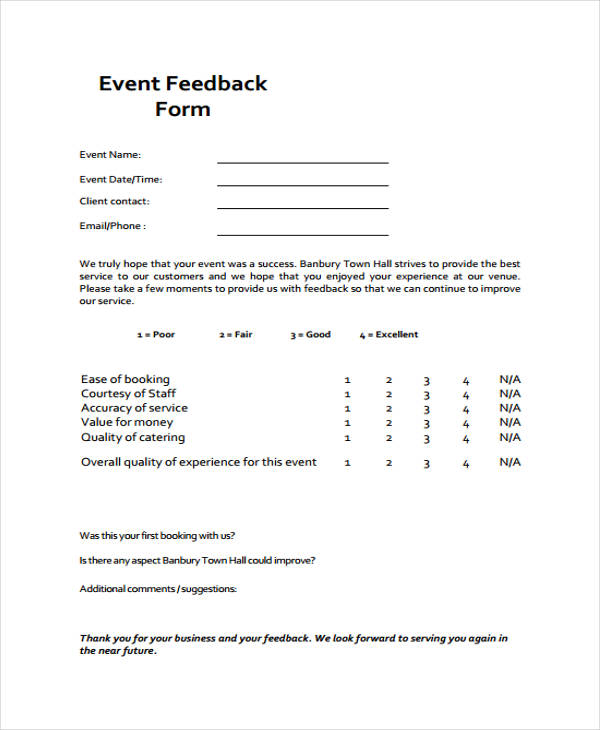 17+ Sample Event Feedback Forms