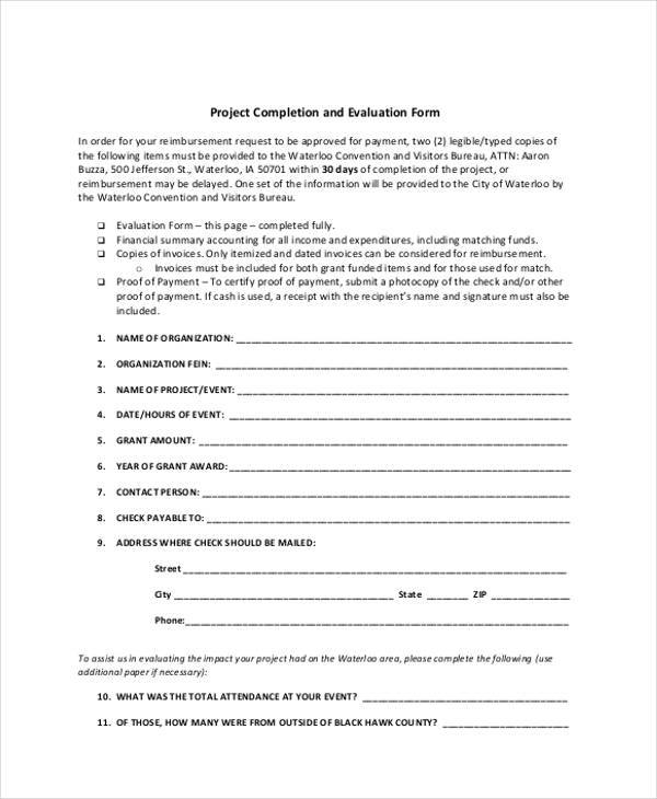 event project completion evaluation form1