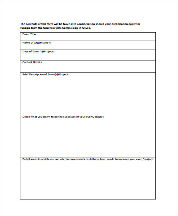 Sample Event Evaluation Forms