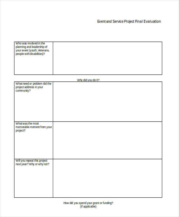 event service project evaluation form