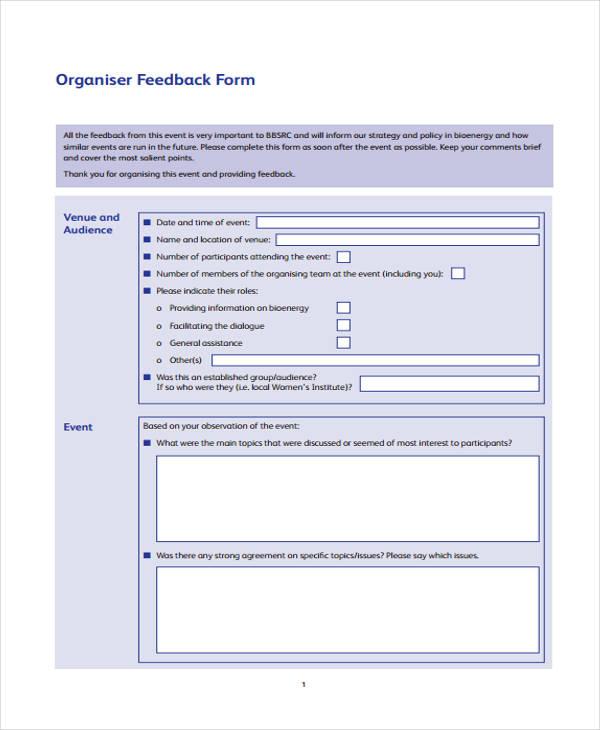 event venue organizer feedback form