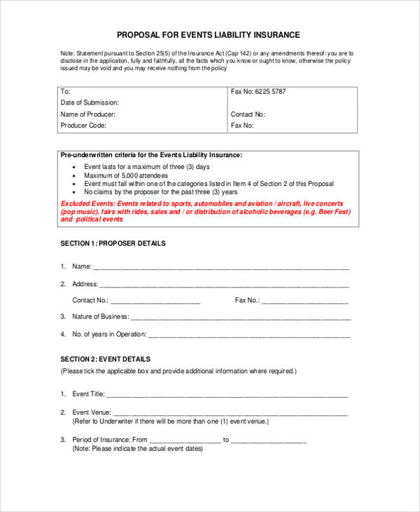 events public liability proposal form2