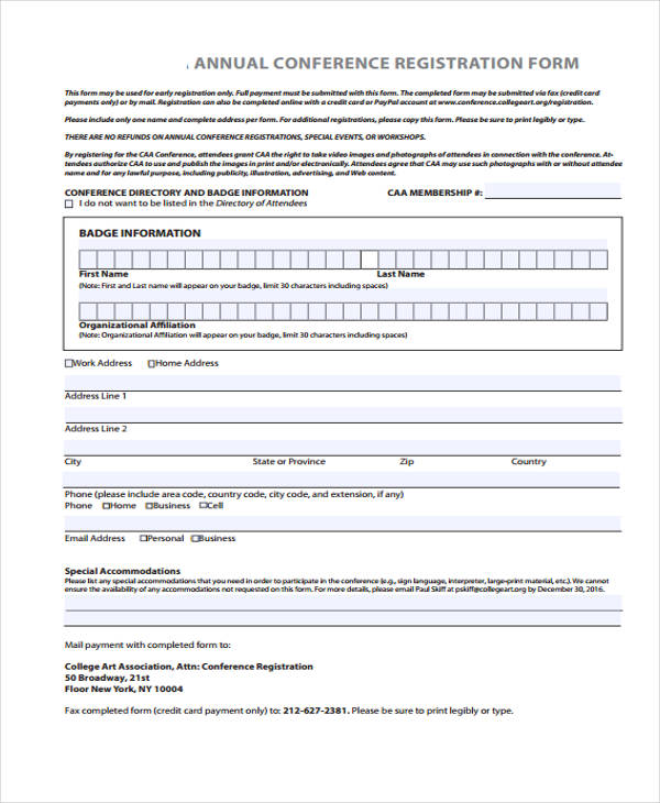 example annual conference registration form