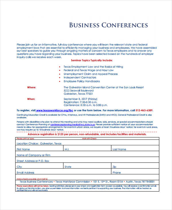 example business conference registration form