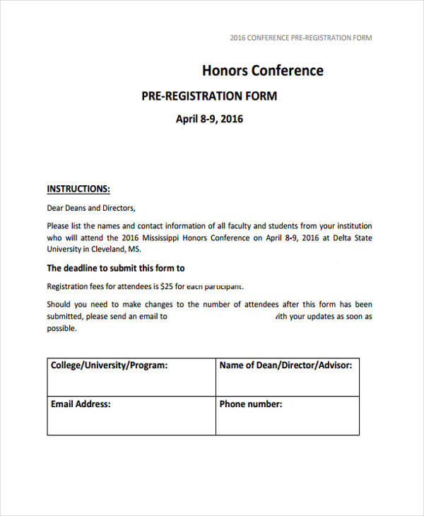 example conference pre registration form