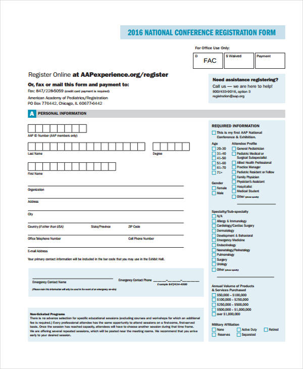 example national conference registration form1