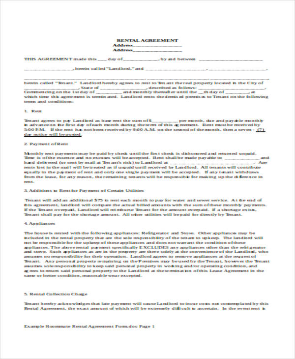 example roommate rental agreement form