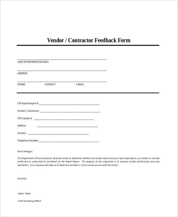 example vendor feedback