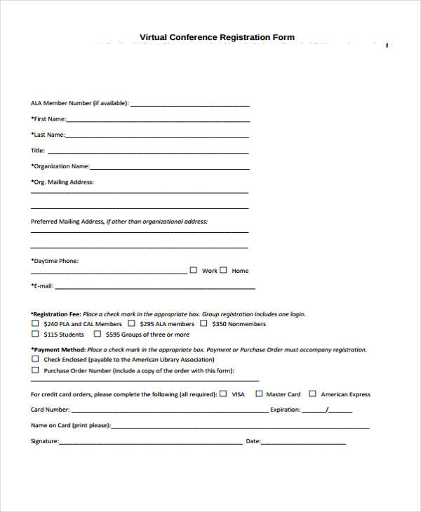 example virtual conference registration form