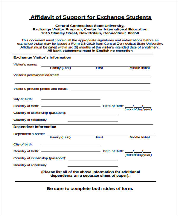 8 student affidavit form samples free sample example format download exchange student affidavit form thecheapjerseys Gallery