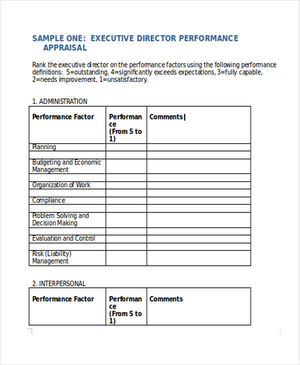 sample performance appraisals forms