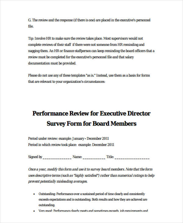executive director performance