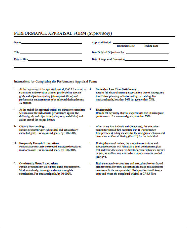 Executive Performance Appraisal Form Sample  Free Sample