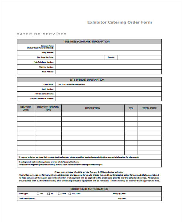 Sample Service Order Forms