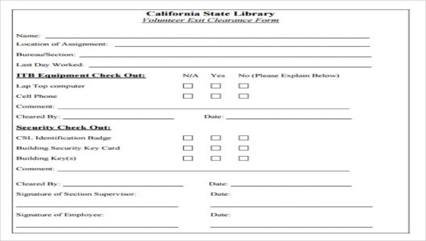 5  exit clearance form sample