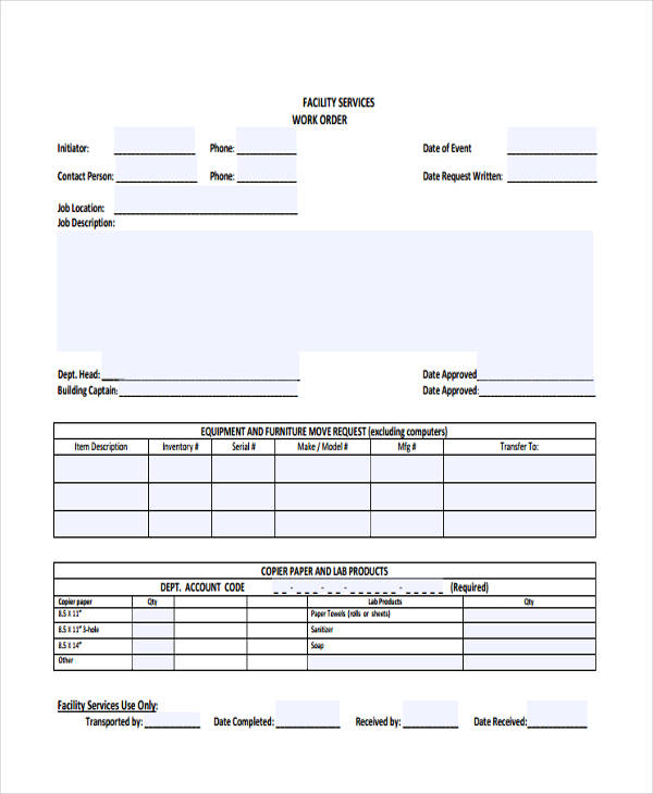 facilities services work order form