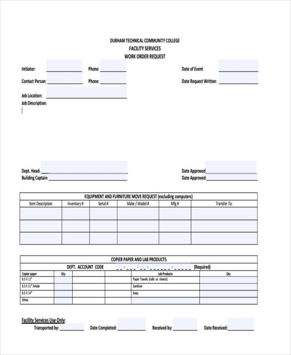 facilities services work order request form