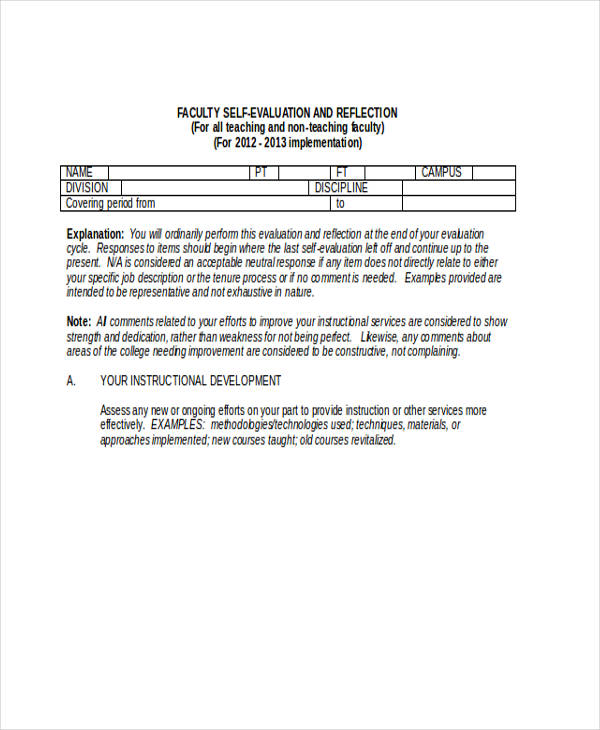 faculty self evaluation form in doc