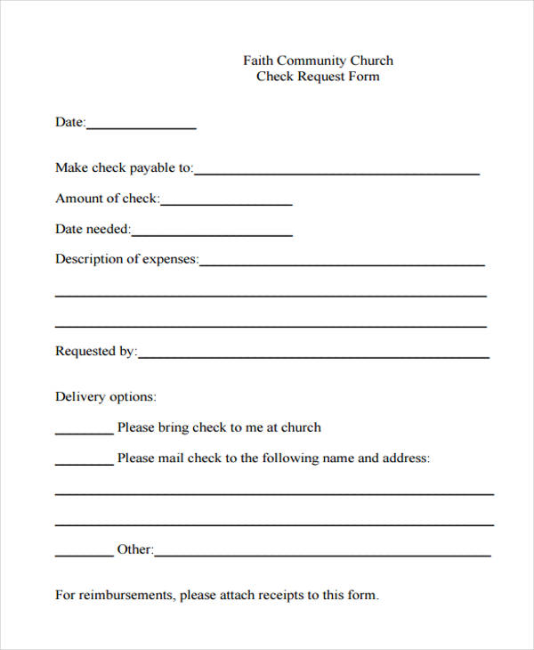 Faith Community Church Check Request Form. Faith Community Church