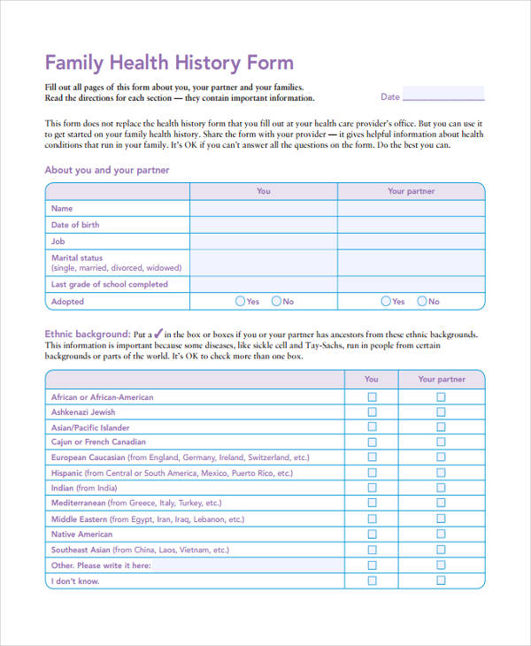 family health history assessment form