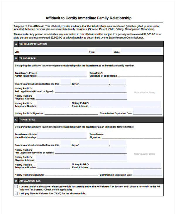 family relationship affidavit form1