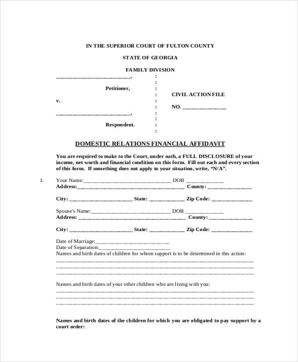 family support affidavit financial form