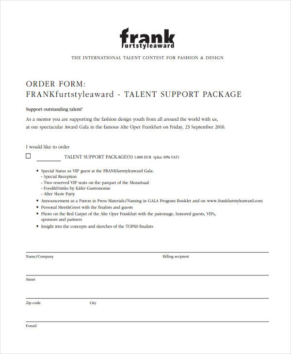 Free 6 Sample Fashion Order Forms In Pdf Ms Word