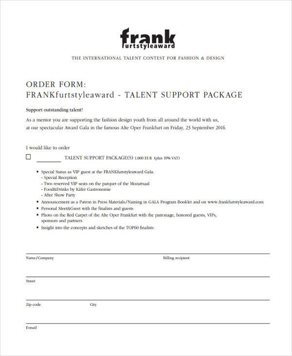 fashion designer order form