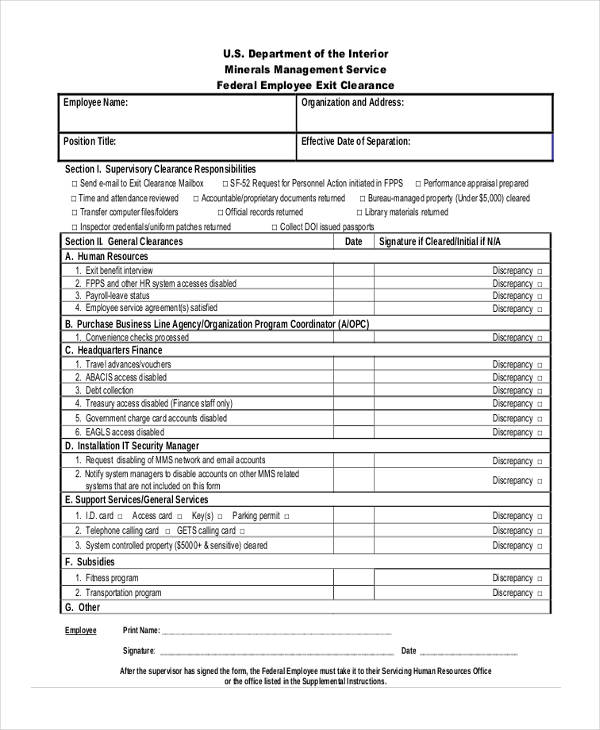 Employee Clearance Form Example