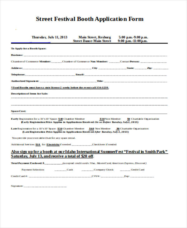 Rental Agreement Form in Word – Booth Rental Agreement