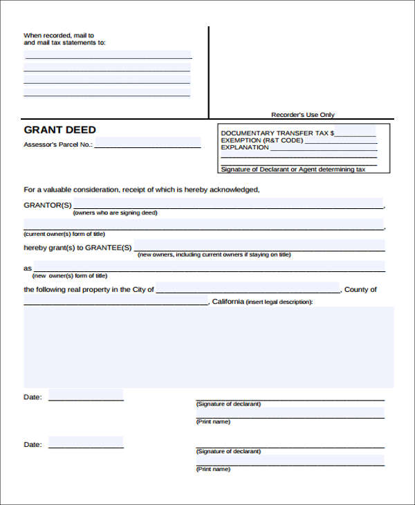 Free Deed Form