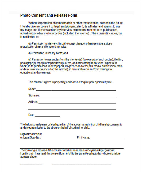 film interview release form in doc