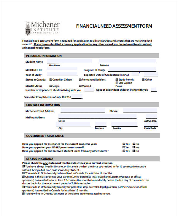 28 sample needs assessment form for Financial assessment template