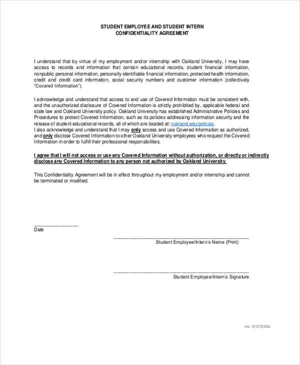 Financial Services Confidentiality Agreement Form