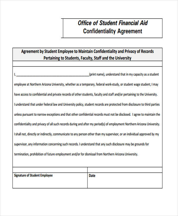 financial statement confidentiality agreement form