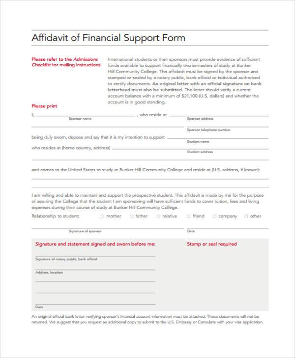financial support affidavit form