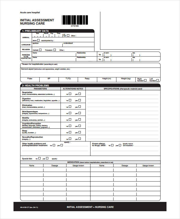 finical nursing care assessment form