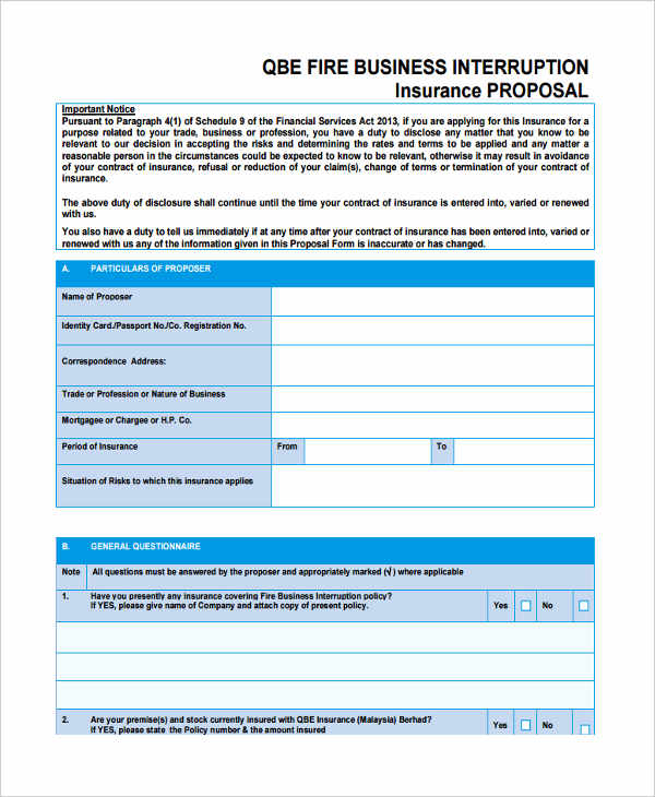 fire business interruption proposal form