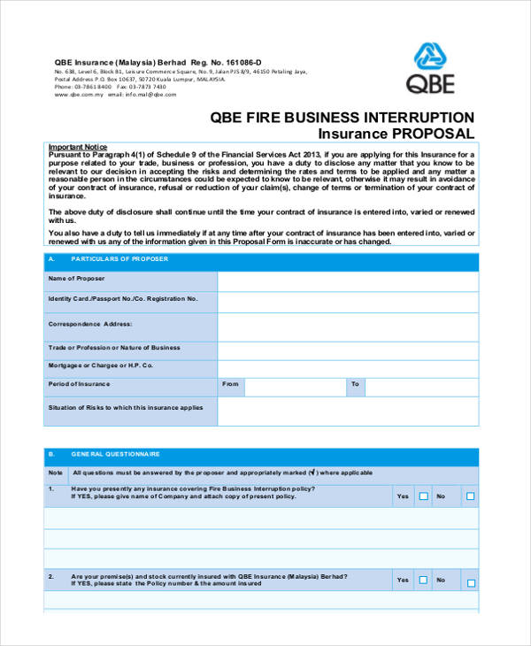 fire business interruption proposal form1