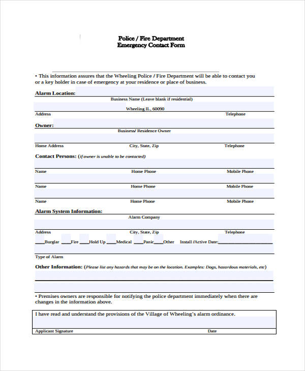 fire department emergency contact form