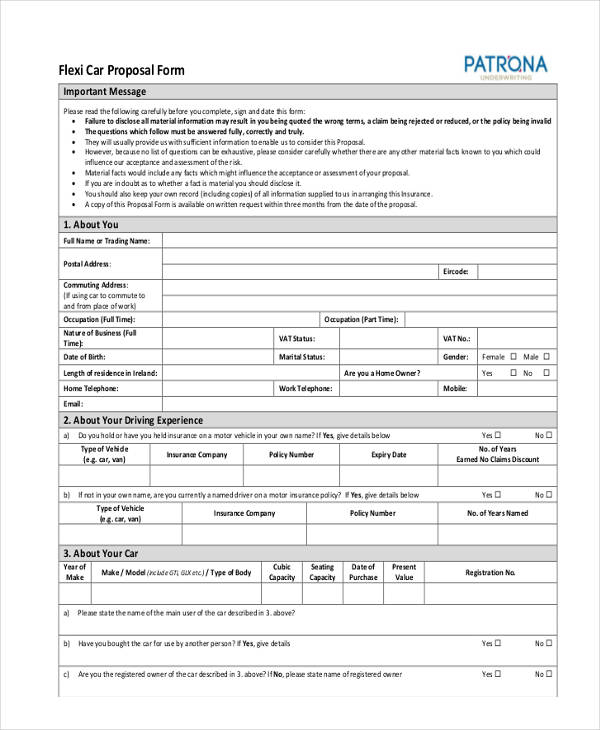 Axa Car Insurance Proposal Form 44billionlater