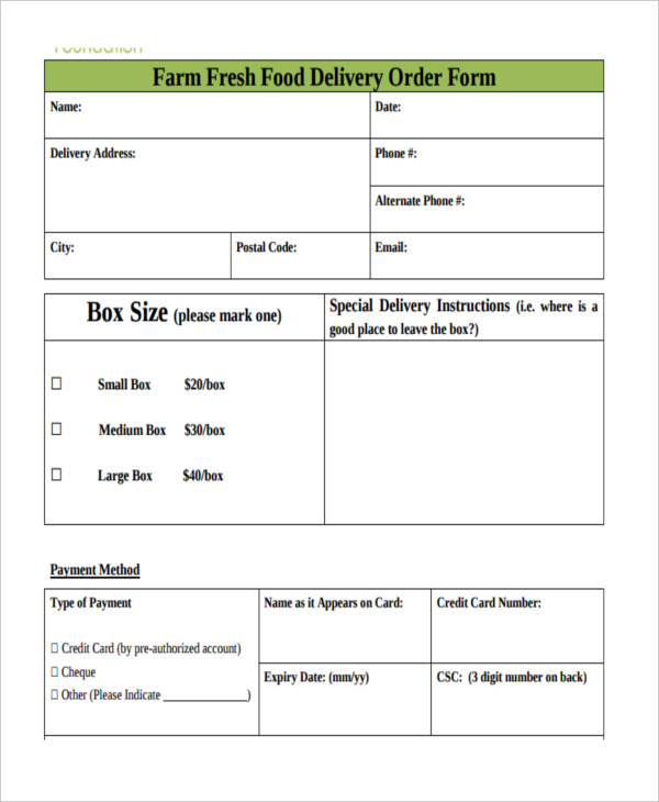 Food Delivery Order Form