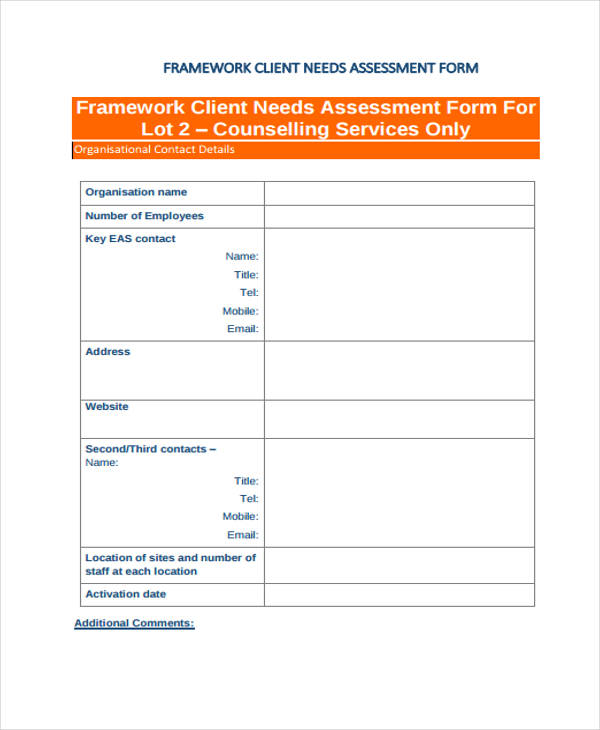 Framework Client Needs Assessment Form  Assessment Forms Templates