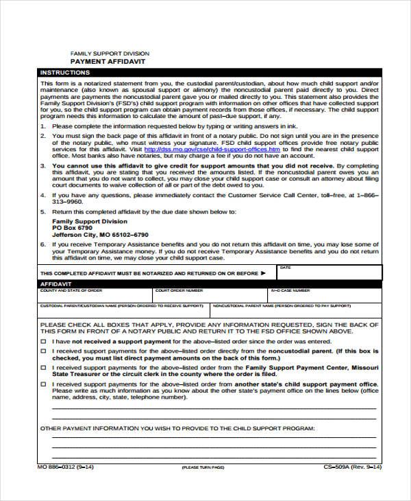 free affidavit child support form