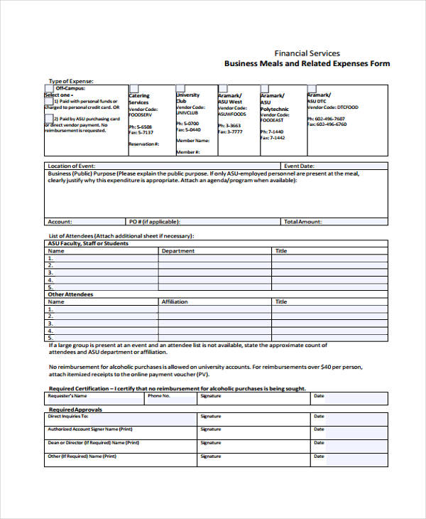 free business meal expense form